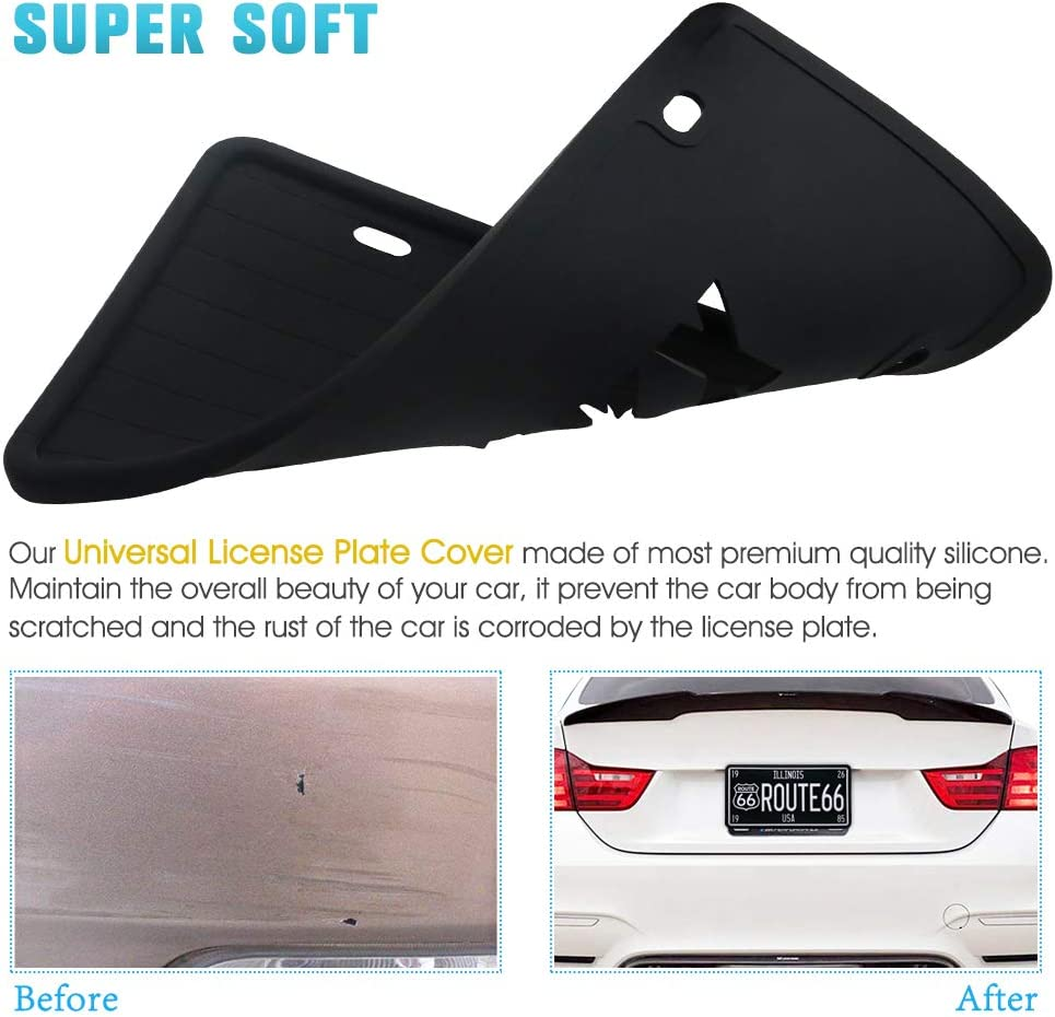 Jxxxn 2 Pcs White Silicone License Plate Frame Rain-Proof Anti-Scratch Anti-Rust and Anti-Rattle for Car Universal License Plate Frame