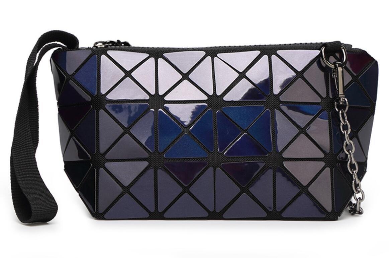 Kayers Sulliva Women's Fashion Hologram Geometric Plaid Wristlet Purse Clutch Wallet Shoulder Handbags(Navy Blue)