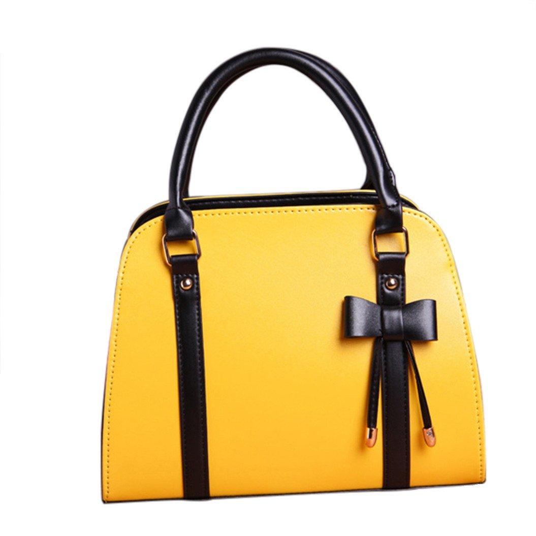 Softmusic Women Vintage Zipper Bowknot Faux Leather Handbag Purse Tote Bag Shoulder Bag size 30cm x 22cm x 12cm (Yellow)