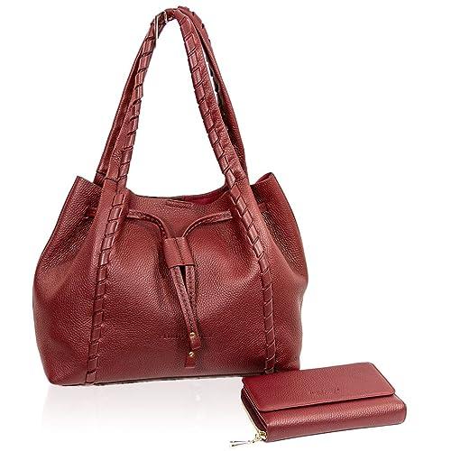 Plinio Visona Italian Designer Marsala Leather Large Shoulder Bag ... a19e16f3240