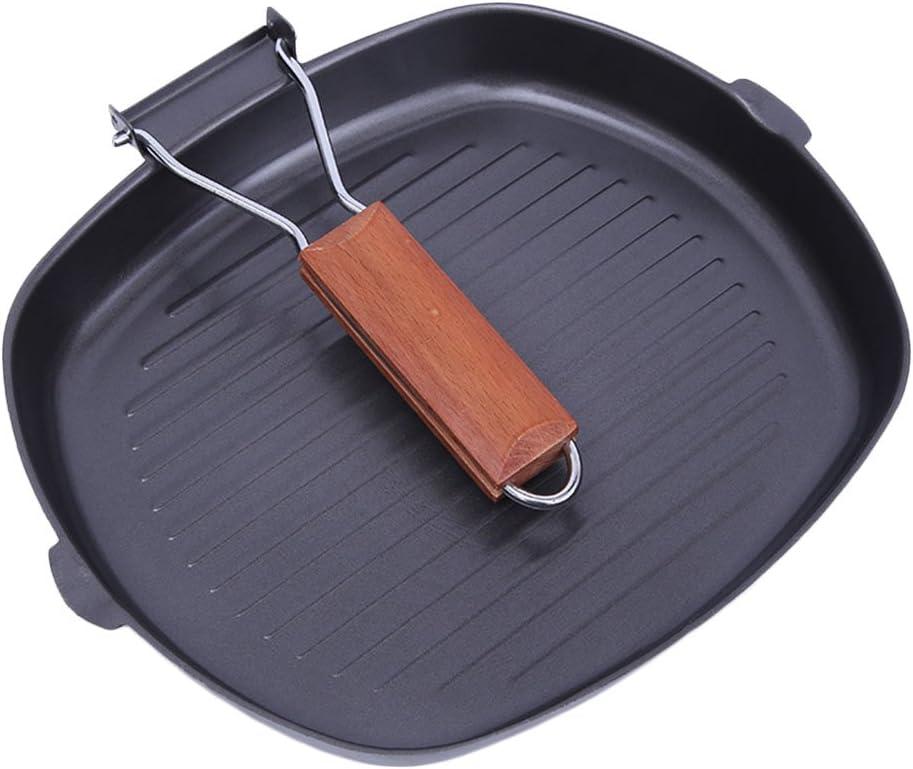 DSstyles Homeware - Usage domestique - Poêle à steak non collante avec poignée pliante en bois - Accessoire de cuisine, 28 cm., 28 cm 24 X 28 Cm.