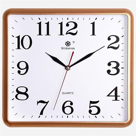 AIZIJI Reloj de Pared electrónica Cuadrados Silencio Dibujo Relojes Inicio Creatividad Arte Moderno wannian Calendario Reloj