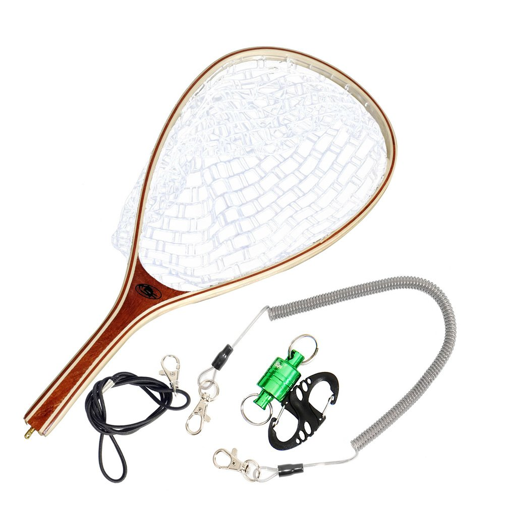 SF フライフィッシング用ソフトシリコンゴム マスのキャッチ&リリースに Tear Drop Clear Net with Green Magnetic Net Release /Tear Drop B01JLCT3LY