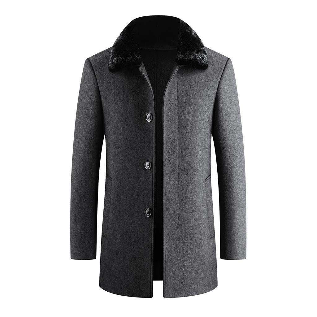 Fitfulvan Men's Fashion Business Trench Tops Cardigan Long Solid Color Slim Fur Collar Coat Gray by Fitfulvan Men's Coat
