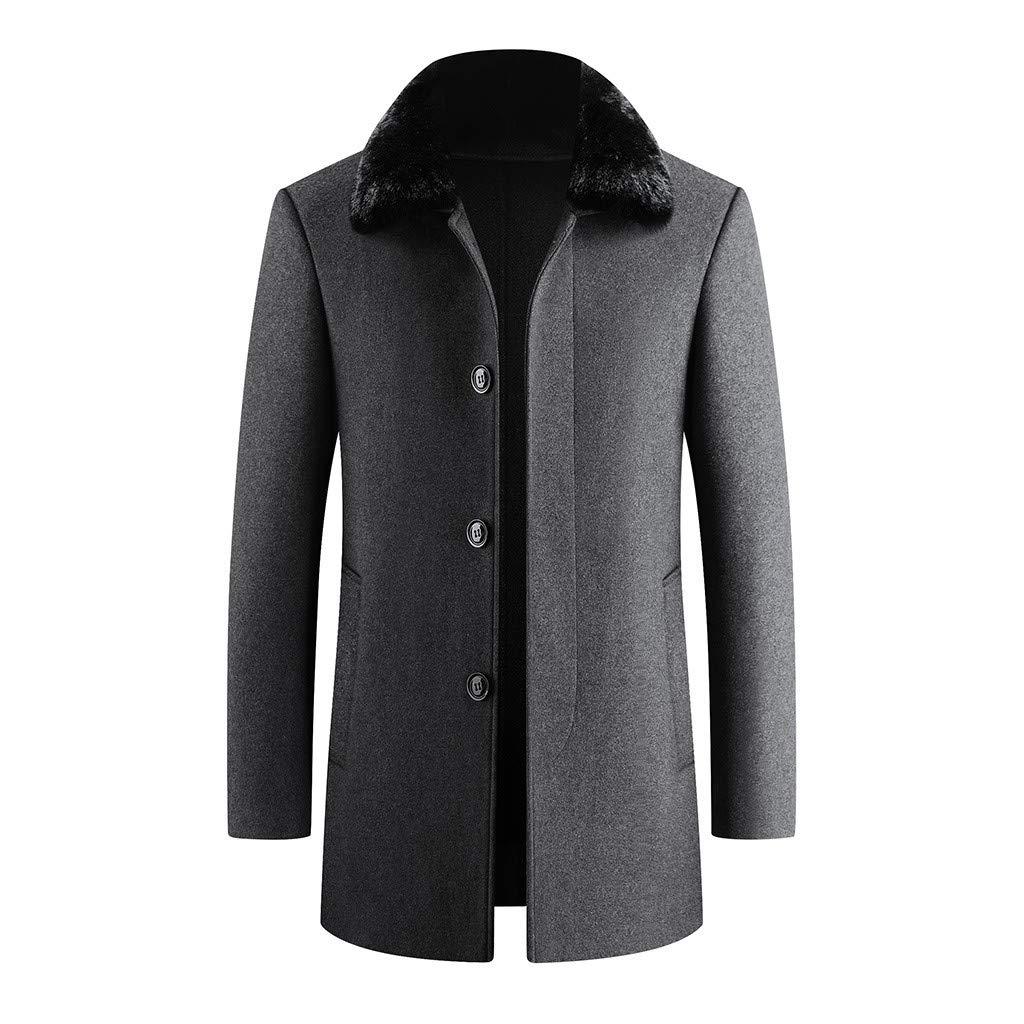 Fitfulvan Men's Fashion Business Trench Tops Cardigan Long Solid Color Slim Fur Collar Coat Gray