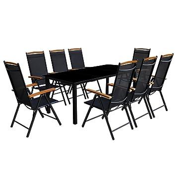 Festnight Conjunto de Mesa y Sillas Jardin Muebles de Comedor 9 Piezas Negro
