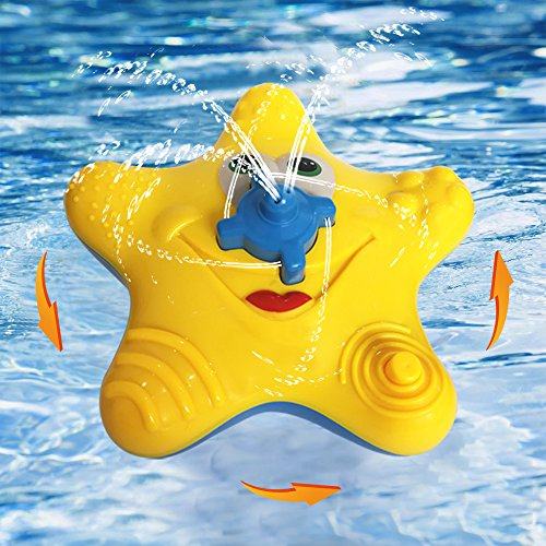 Hot ABIsedrin Baby Bath Toys,Starfish Bath Toys for Toddlers Boys Girls,Electronic Float Rotate Spray Water Toys For Pools and Bathtubs (Yellow) for cheap