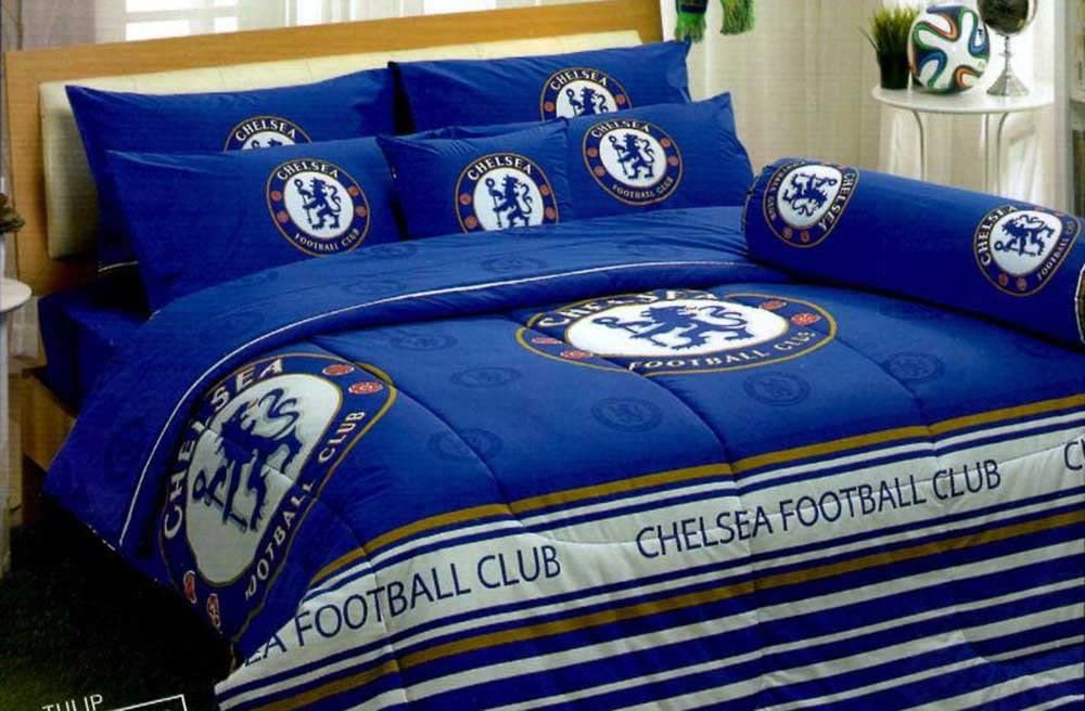 """Chelsea FC Football Club Official Licensed Bed Sheet Set, Fitted Sheet, Pillow Case, Bolster Case (Not Included Comforter) CS001 Set A (Twin(42""""x78""""))"""