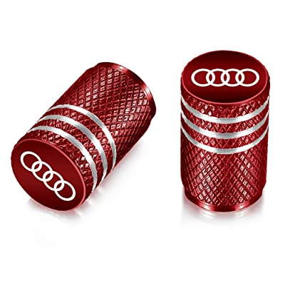 Flow.month Valve Stem Caps,Tire Caps Replacement for Audi Accessories Car,Motorbike,Trucks Aluminum 4pcs (red): Automotive [5Bkhe2009212]