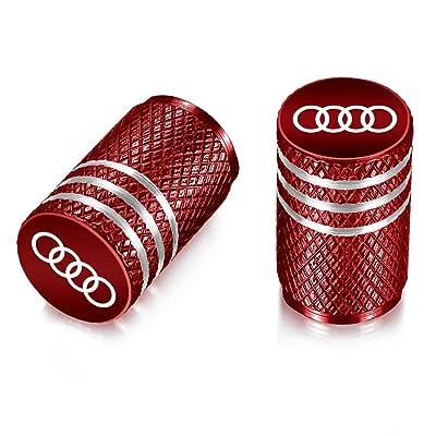 Flow.month Valve Stem Caps,Tire Caps Replacement for Audi Accessories Car,Motorbike,Trucks Aluminum 4pcs (red): Automotive