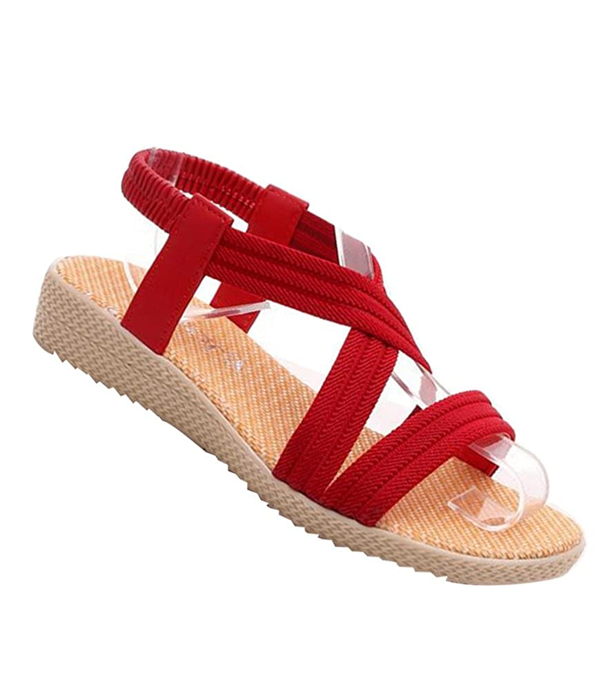 d3c4a34e3b42 YOUJIA Womens Simple Bohemia Roman Sandals Peep Toe Elastic Slingback Flip  Flop Flat Shoes  Amazon.co.uk  Shoes   Bags
