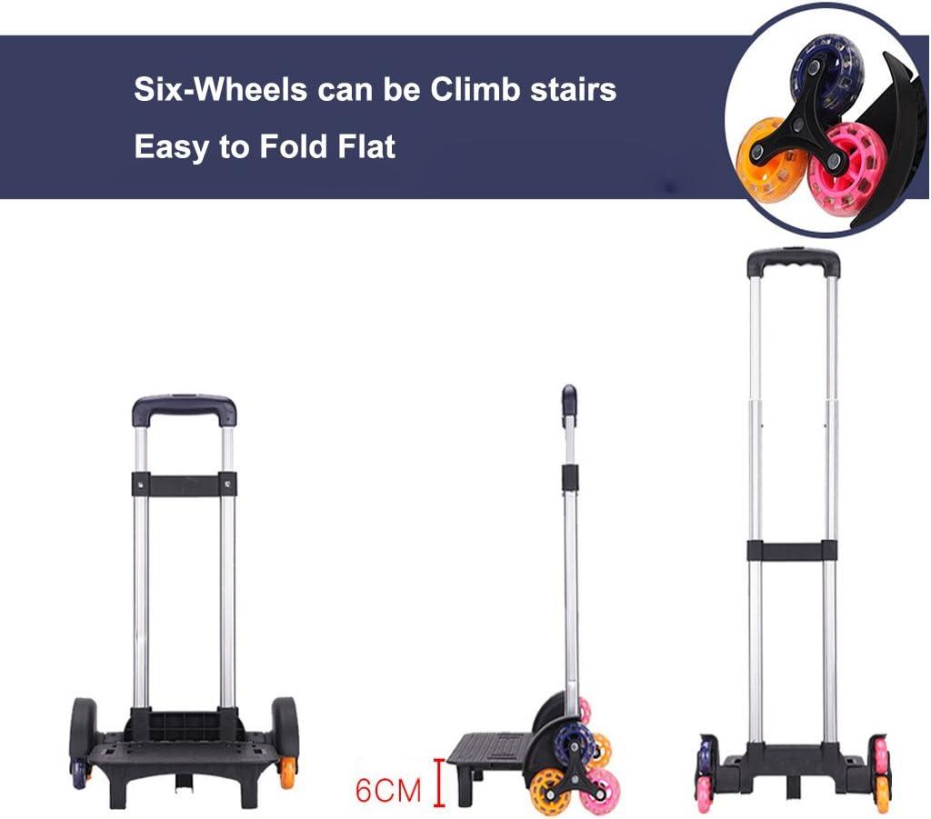 Schultasche Trolley, Trolley Schultaschen Rucksack Rolling Rucksäcke Kinder Schultasche mit sechs Rädern Klettern Treppen Grün-6 Räder