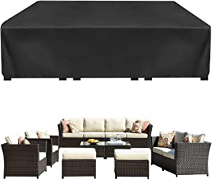 Patio Furniture Cover Waterproof Outdoor Furniture Cover for Table and Chairs Set, 420D Waterproof Cover with 4 Windproof Buckles Fits for 12 Seats (124''Lx63''Wx29''H)