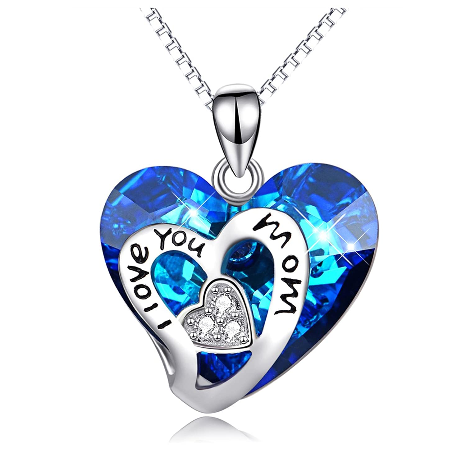 """""""I Love You Mom"""" Necklace Sterling Silver Necklace with Swarovski Crystals,Mothers Day Jewelry Gift"""
