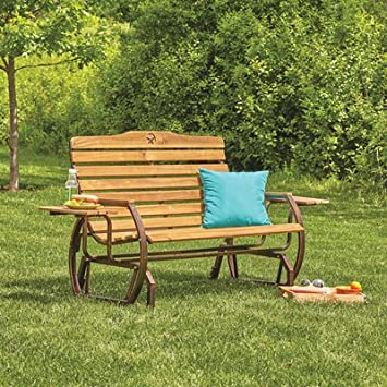 Kotula s Wooden Outdoor Glider Bench with 2 Trays