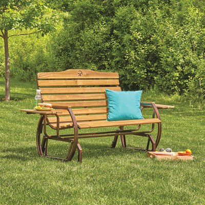 Kotulas Wooden Outdoor Glider Bench with 2 Trays