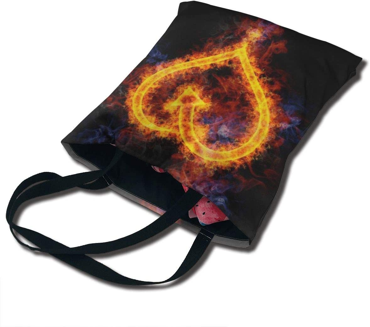 PengMin Flame Love Heart Shaped Fashion Womens Multi-Pocket Vintage Canvas Handbags Miniature Shoulder Bags Totes Purses Shopping Bags