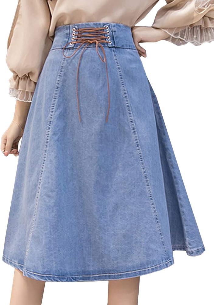 Scothen - Falda vaquera para mujer, larga, de algodón, con línea A ...