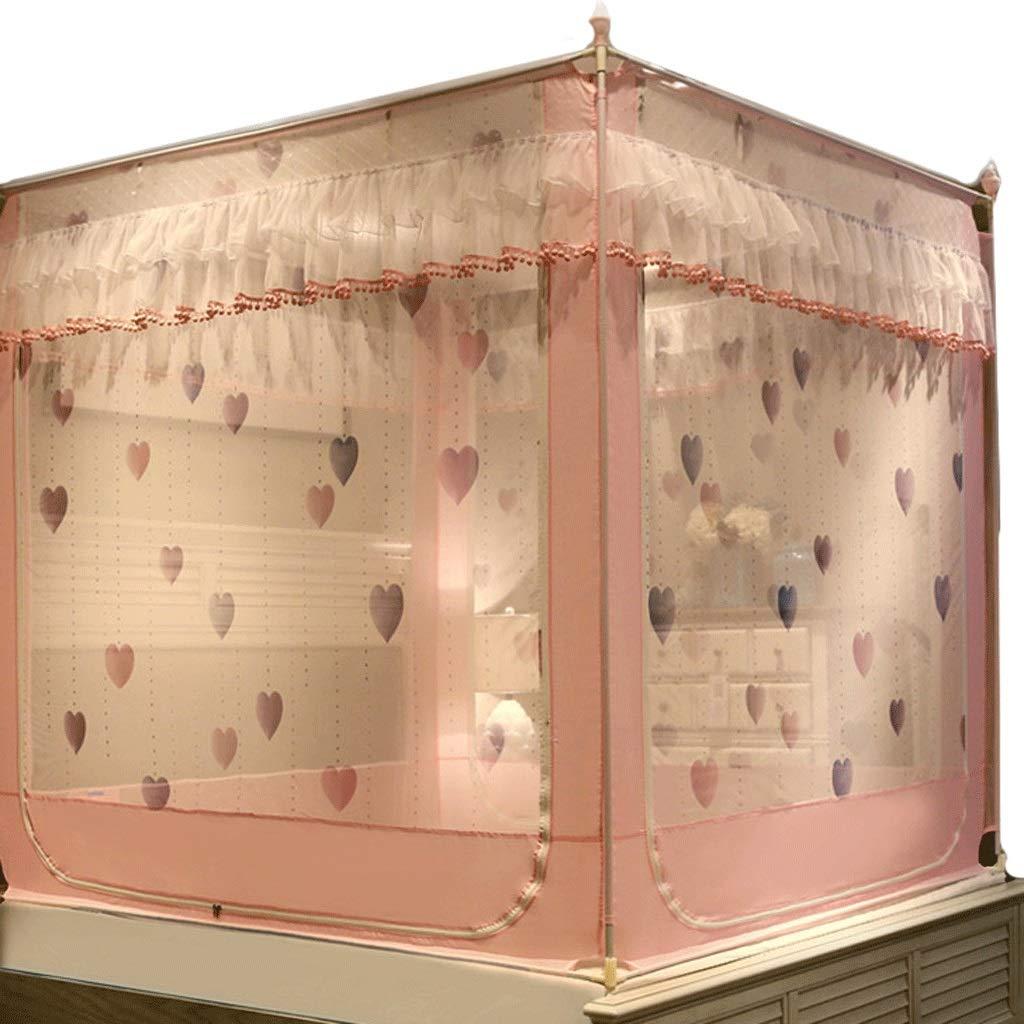 蚊帳1.5 / 1.8メートルベッドジッパースクエアトップダブル家庭用パオベッド蚊帳 (色 : ピンク, サイズ さいず : Bed 1.8m) Bed 1.8m ピンク B07RTNDFBH