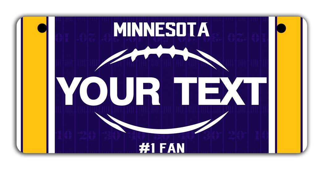 BRGiftShop Personalize Your Own Football Team Minnesota Bicycle Bike Stroller Childrens Toy Car 3x6 License Plate Tag