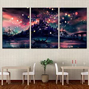 5 Pcs Framed Harry Potter Hogwarts for Home Office Decor Wall Pictures for Living Room/Office Room (3 Piece, 70x90cm x 3pcs)