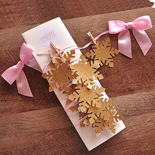 Winter Wonderland Party Decoration. Snowflake Banner. Snowflake Garland. Pink and Gold Party Decor. -