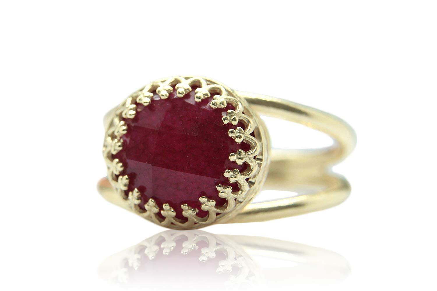 4CT Ruby Ring by Anemone Jewelry - Adorable Rose Gold Ring - AA Ruby 10 Millimeter Ring with All Sizes and Free Fancy Ring Gift Box - Handmade 611oRv2HCjL