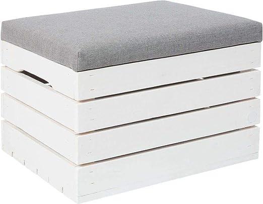 Vailantes® - Baúl de madera blanco para guardar asiento, banco con caja de almacenamiento, con cojín, caja de juguetes para habitación infantil: Amazon.es: Hogar