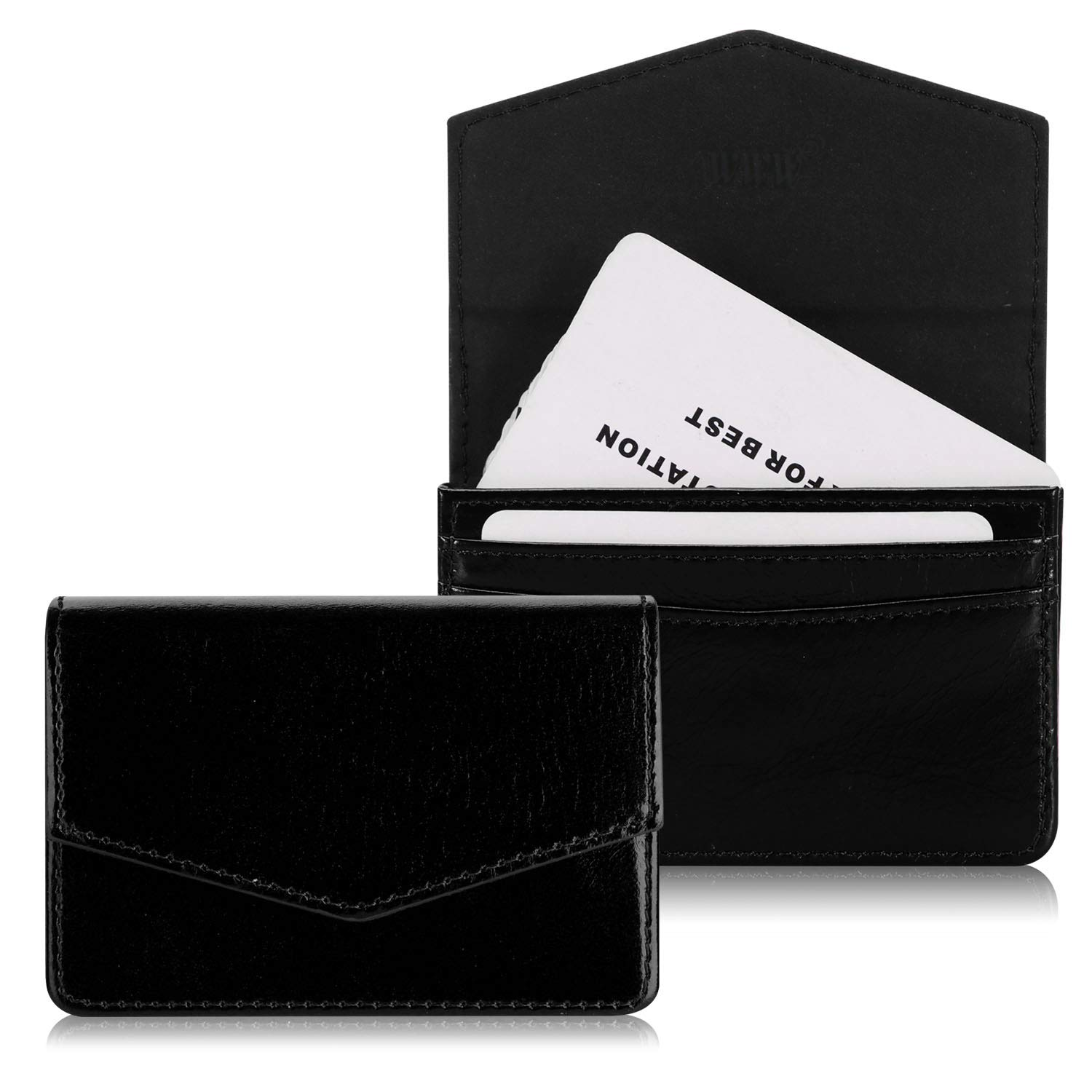WWW Genuine Leather Business Card Holder Business Card Case with Magnetic Shut for Men & Women, Holds 30 Business Cards Black