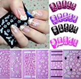 Sannysis(TM) 6PC Flowers Bow Lace Butterfly Snow Nail Art 3D Stickers Beauty Nail Salon For Girls