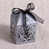 LianLe 50 Pieces Love Heart Laser Cut Candy Gift Boxes With Ribbon Wedding Party Favor