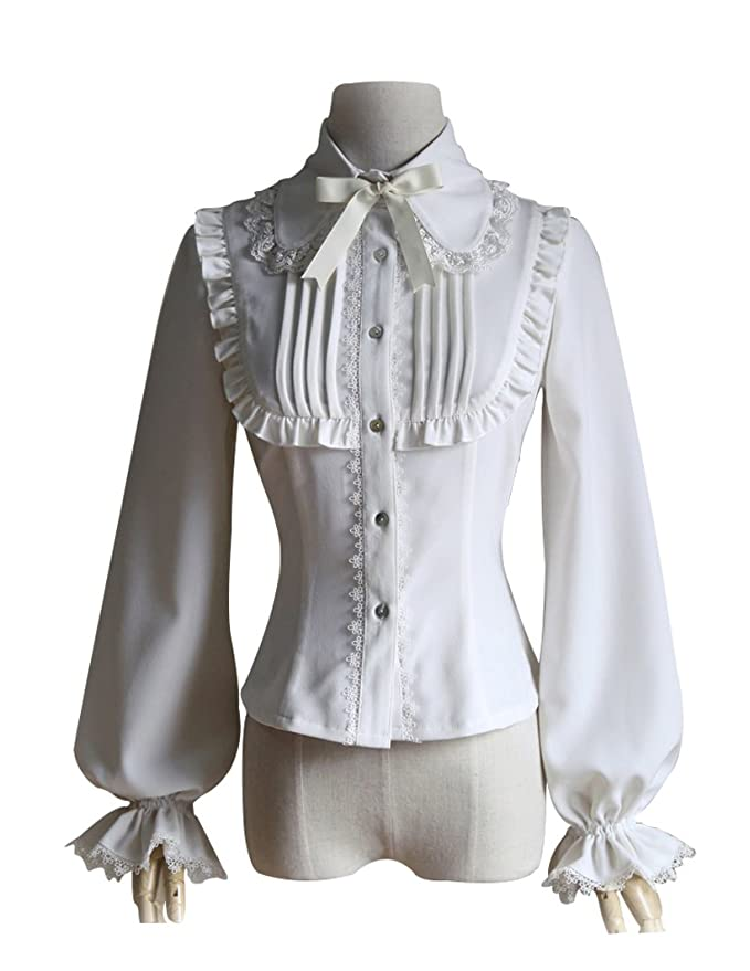 Edwardian Blouses | White & Black Lace Blouses & Sweaters Exclusive Vintage Classic Lolita Pin-tuck Lacing up Back Long Sleeves Blouse $59.00 AT vintagedancer.com
