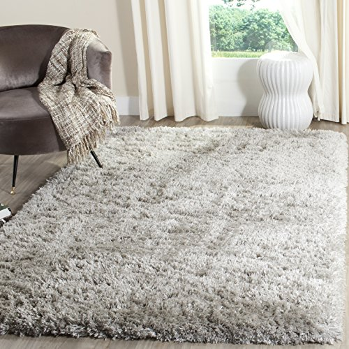 Safavieh Polar Shag Collection PSG800D Silver Area Rug, 4' x 6'