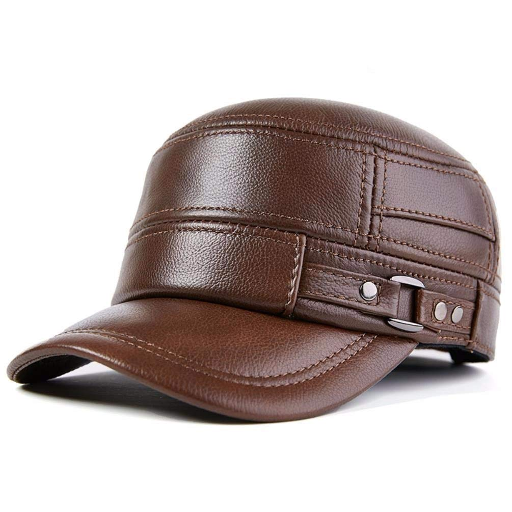 LIUXINDA-PM Mens Autumn and Winter Flat-top hat Military hat Fashion Earmuffs Leather hat Casual hat