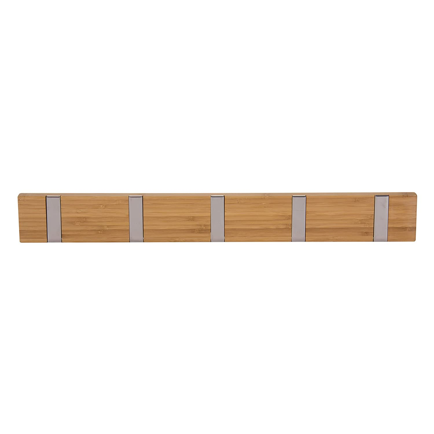 Household Essentials Bamboo 5-Hook Wall Coat-Hat Rack, Natural 2254-1