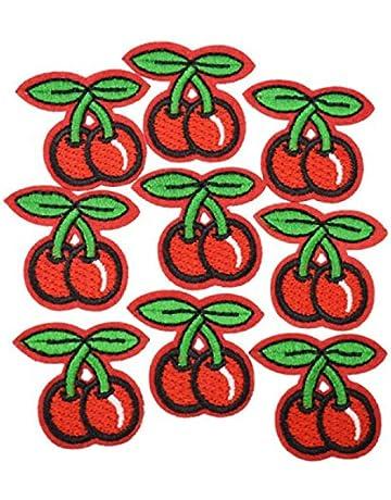 iTemer 10 piezas de pegatinas de tela de cereza roja bolsas de ropa pegatinas decorativas costura