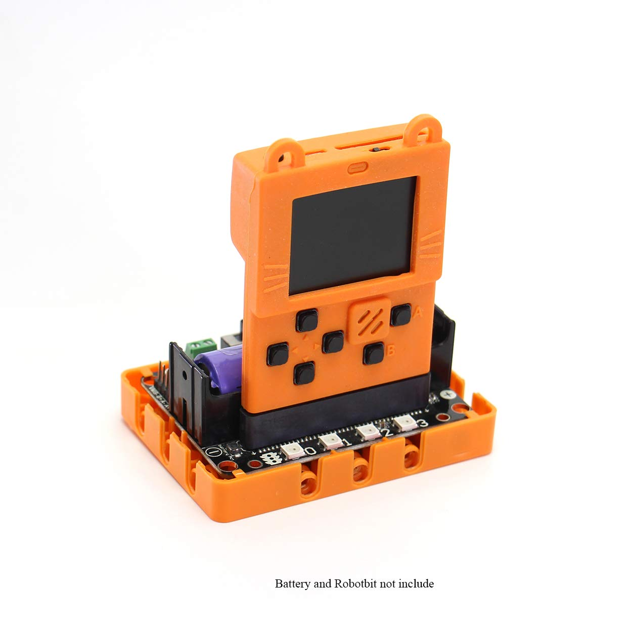 Kittenbot Meowbit Card-Sized Retro Game Computer Codable Console for Microsoft Makecode Arcade and Python Video Game Console Compatible with Micro:bit Expansion Board for Robot Building(Orange) by KittenBot (Image #5)