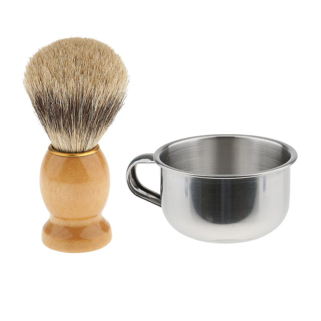 Dovewill Mens Wood Dense Hair Shaving Brush with Stainless Steel Shave Mug Soap Cup Bowl Set Kit for Salon Home Bathroom