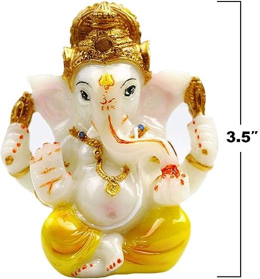 Size 8 x 6 cm CraftVatika Gold Plated Terracotta Pagdi Ganesha Statue for Car Dashboard God Ganpati Puja Gifts Idols Home Decor