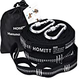 Hammock Straps(Set of 2), Homitt 12FT XL Tree Strap with Adjustable 40 Loops Easy Setup No Stretch Tree Friendly Hammock Hanging Straps for Camping, Hiking or Backyard (2 Free Carabiners+Storage Bag)