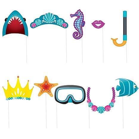 vari colori bambino negozio di sconto Unique Party 61938 - Accessori per Cabina Fotografica a Tema in Fondo Al  Mare, Confezione da 10