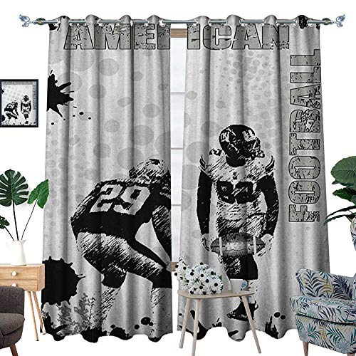 Sports Patterned Drape for Glass Door Grungy American Football Image International Team World Cup Kick Play Speed Victory Waterproof Window Curtain W120 x L96 Black White
