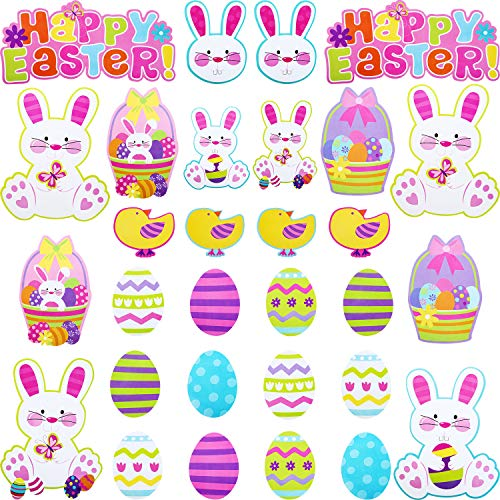 Chengu 30 Pieces Large Paper Easter Wall Decorations Bunny Window Clings Egg Cutouts Stickers, 7 Assorted Pattern Size Easter Party Accessories (Max 11.4 Inch, Min 3.7 Inch)]()