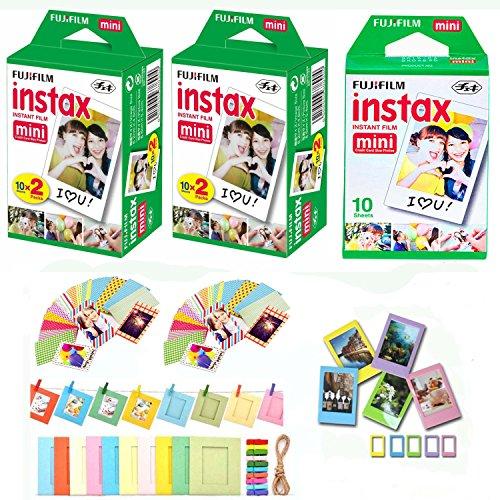 Fuji Instax Mini Instant Film 50 Shots with Bonus 40 Decorat