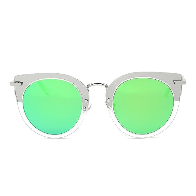 6ed5c3390d JIM HALO Gafas de Sol de Espejo Ojo de Gato Redondo Oversize Marco Plano  Metal Anteojos Mujer(Plateado/Verde Espejo): Amazon.es: Ropa y accesorios