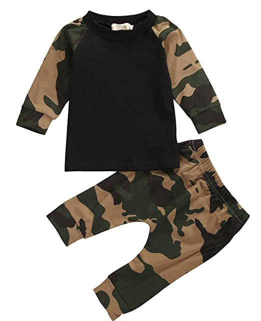 31269c5525f5 Little Boys Short Sleeve Cotton T-shirt and Camouflage Pants Outfit:  Amazon.co.uk: Clothing