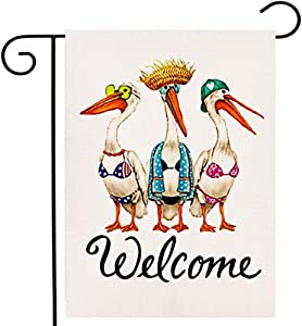 Ogiselestyle Welcome Summer Garden Flag Vertical Double Sided, Sea Gals Pelicans Spring Flag Yard Outdoor Decoration 12.5 x 18 Inch