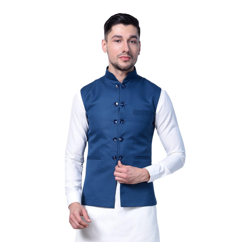 Pathan Kurta pyjama with designer Ikkat cotton nehru jacket (L-42) (XXL-46)