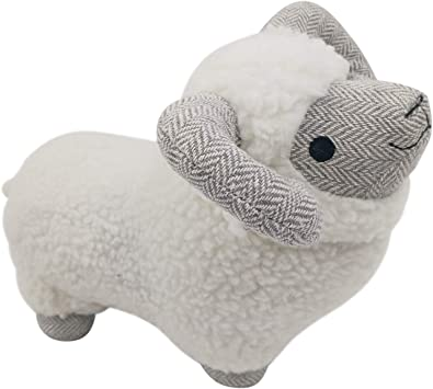 Lily/'s Home Cute Sheep Decorative Weighted Interior Door Stopper Compact with Soft Fabric Design