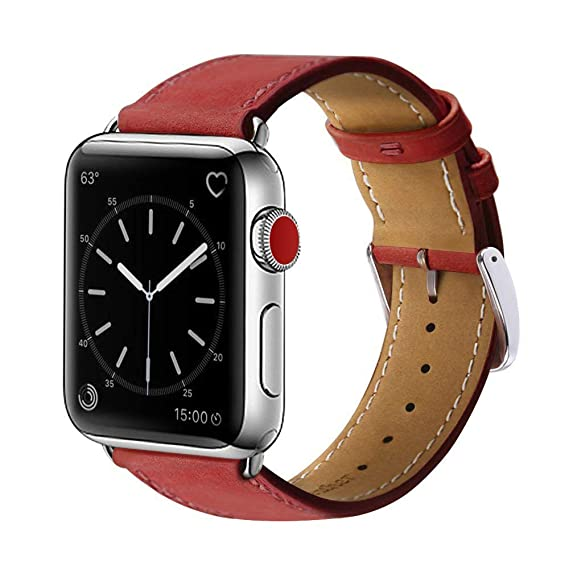 MARGE PLUS Compatible Watch Band, 42mm 44mm Genuine Leather iWatch Strap  Replacement Band with Stainless Metal Clasp Compatible Watch Series4 Series  3